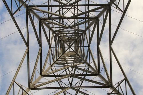 electricity pylon sky clouds