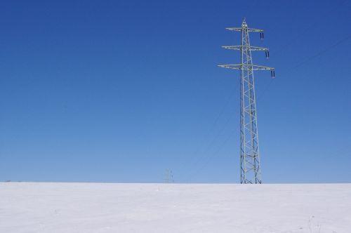 electricity pylon power supply winter