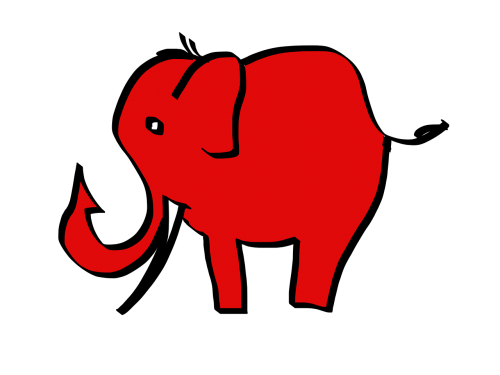 elephant red cartoon