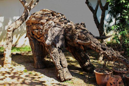 elephant art wooden