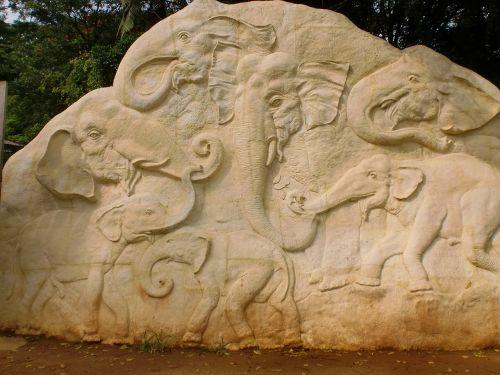 elephant carvings rock