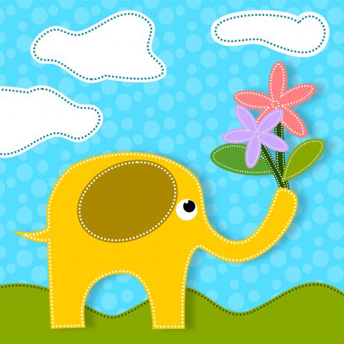 elephants animals flowers