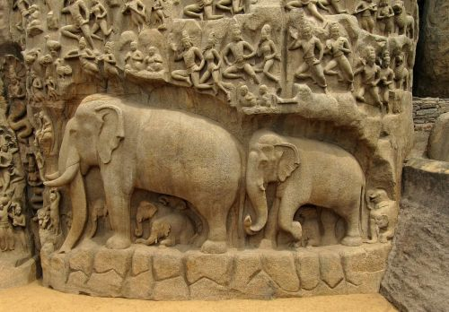 elephants bas relief indian