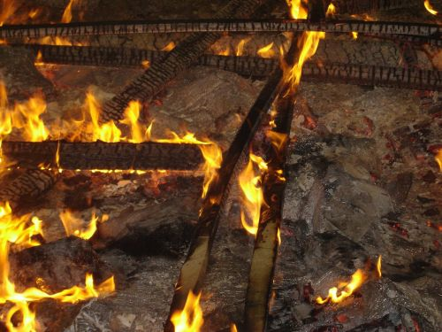 embers wood bonfire