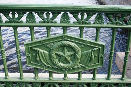 tiltas, turėklai, žalias, dizainas, emblema, jūrų, upė, emblema ant tilto, Sankt Peterburgas