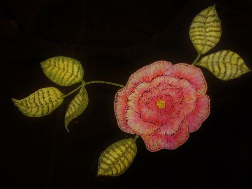 embroidery stitching rose