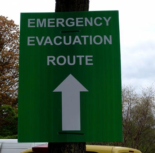 Emergency Evacuation Route Signpost