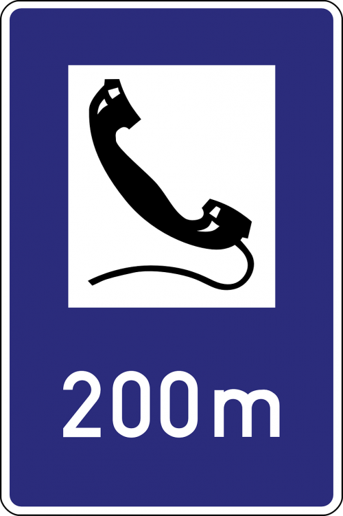 emergency telephone road sign symbol