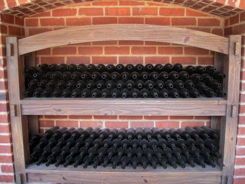 siena, niša, lentynos, buteliai, tuščia, tuščia butelio dėžė