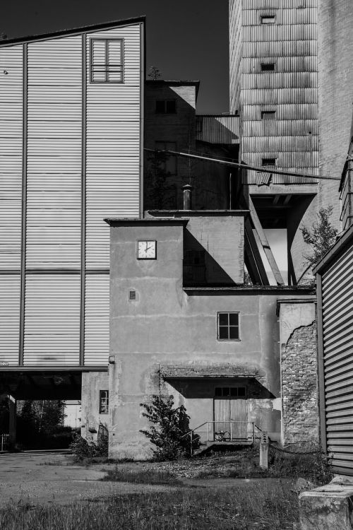 empty factory black and white outdoors