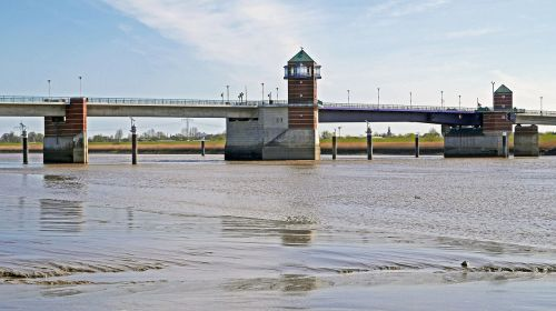 ems last emsbrücke in front of the north sea