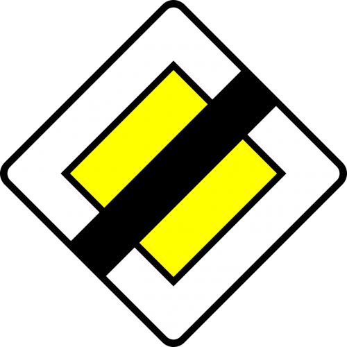 end of priority road traffic sign sign