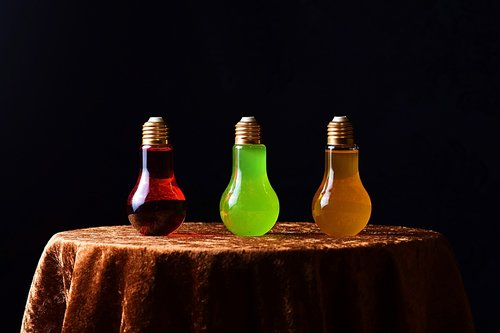 energy drinks  light bulbs  bottles