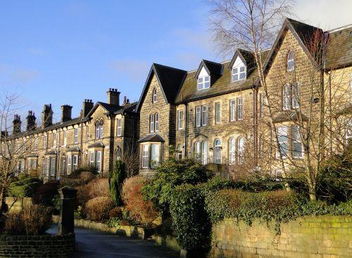 england terraced house stone facade