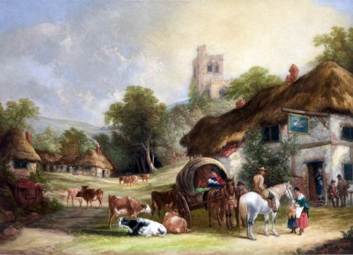 English Country Village Painting
