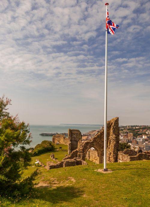 english flag castle ruin