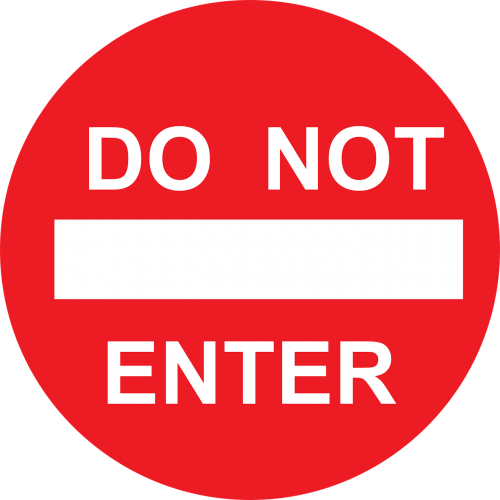 enter not road