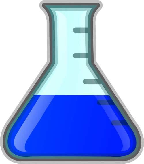 erlenmeyer flask chemistry blue