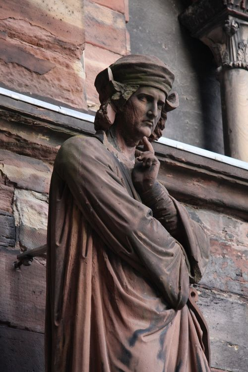 erwin von steinbach,cathedral,strasbourg,statue,sandstone,pink,middle ages,architect,sculptor,alsace,man,free photos,free images,royalty free