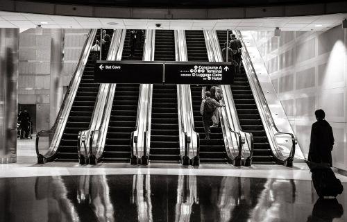 escalators shopping mall up