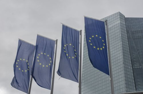 eu flag frankfurt main european central bank
