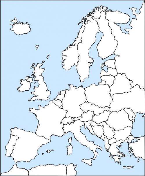 Europa,žemėlapis,Vakarų,politinis,nurodyta,europa,nepažymėtas,kartografija,nemokama vektorinė grafika