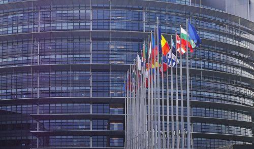 european parliament strasbourg flags