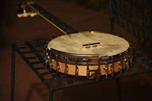 banjo, instrumentas, muzika, muzikinis, eilutė, akustinė, vakarinis banjo