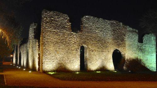 evening landscape castle ruins lights