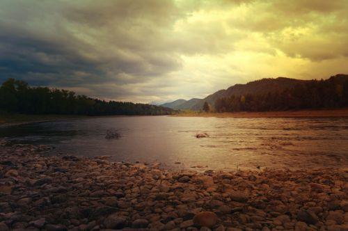 upė, kraštovaizdis, gamta, kalnai, debesys, Debesuota, saulėlydis, vakarinis kraštovaizdis