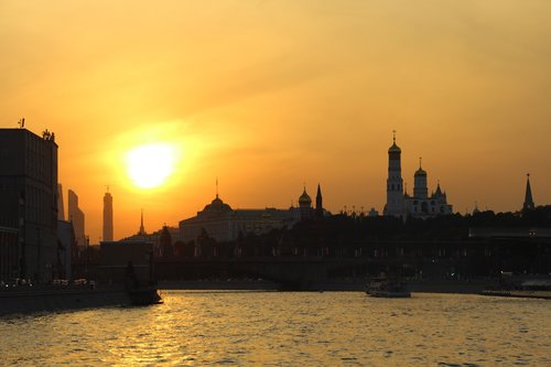 evening moscow  walk on the ferry  steamer