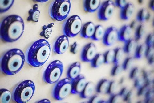 evil eye bead blue