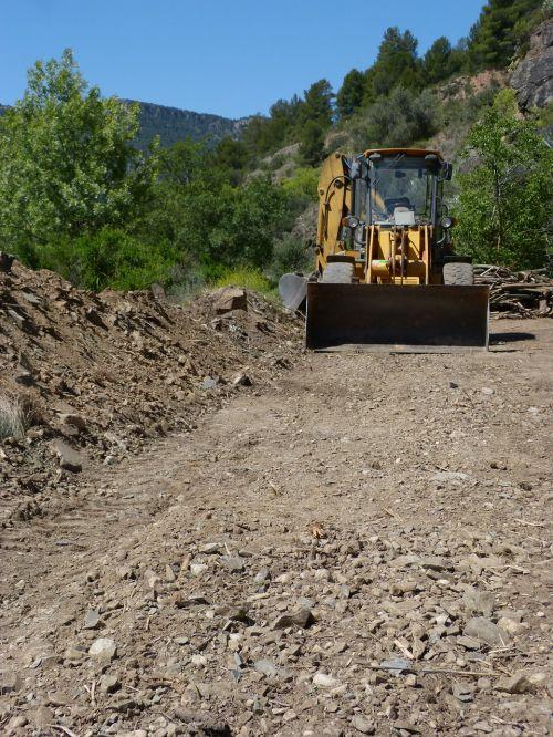 excavator machine paved