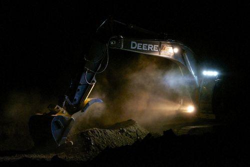 excavator floodlights eerie