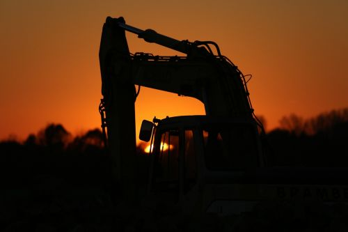excavators construction machine evening