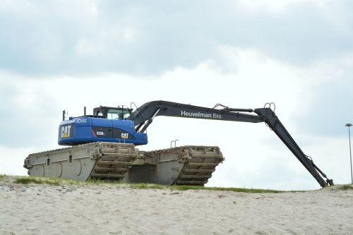 excavators beach construction machine