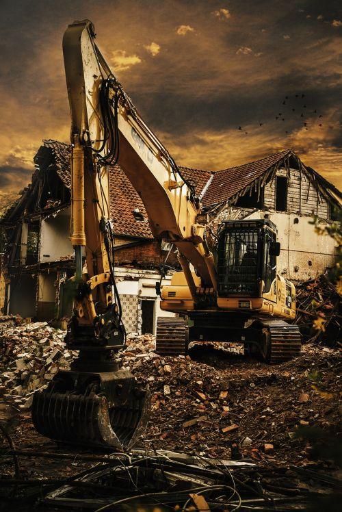 excavators demolition debris