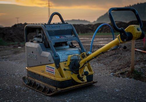 excavators  yellow  construction machine