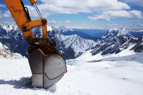 excavators  backhoe bucket  snow