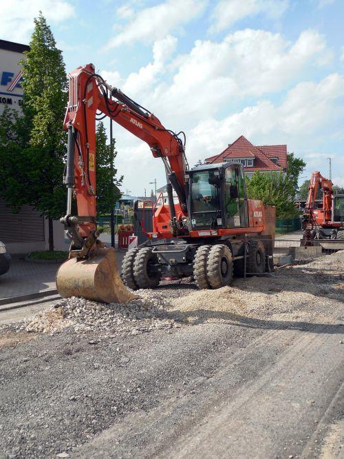 excavators construction machine site