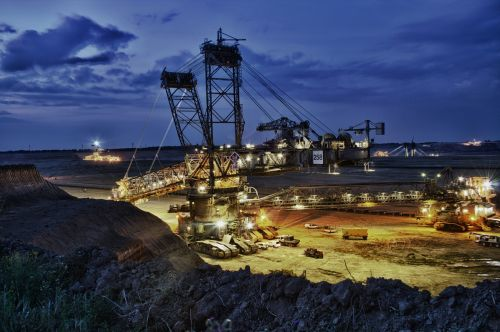 excavators brown coal open pit mining