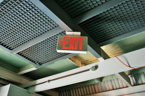 Exit Sign Attached To Roof