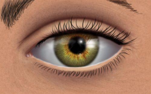 green eye digital painting look
