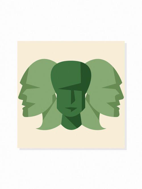 green tiles faces