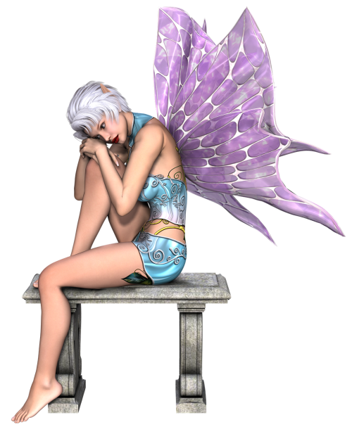 fairy,girl,wings,bench,white hair,fairytale,3d,fantasy,render,faerie,pensive,png