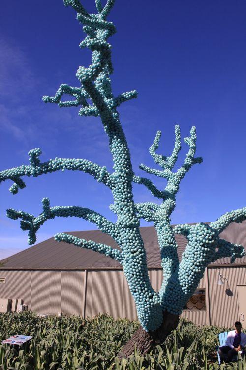 fake plastic tree blue balls tree