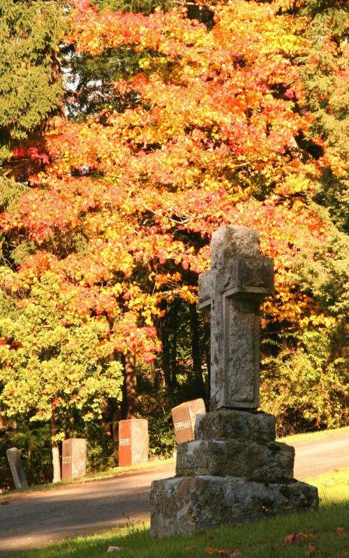 fall leaves cemetery season