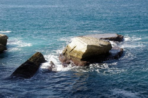 Fallen Rock In Sea