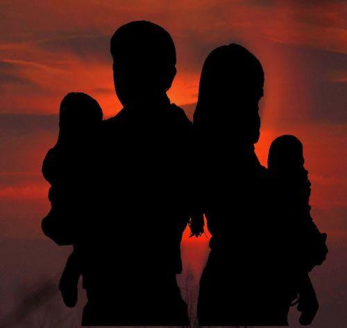 family silhouette human