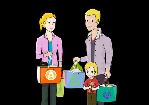 family  shopping  happy